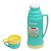 2073  Термос Kamille 600мл со стекл. колбой и 2 пласт. чашками (крас,желт,голуб)