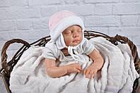 Велюровая шапочка для новорожденной девочки, розовый мелланж, фото 1