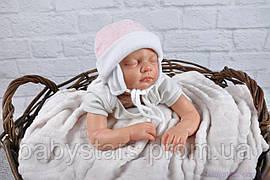 Шапочка велюрова для новонародженої дівчинки, рожевий мелланж