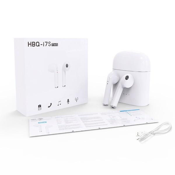 Беспроводные bluetooth наушники HBQ i7 TWS micro usb с доп станцией + повербанк Белые