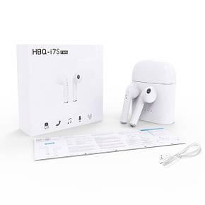 Беспроводные bluetooth наушники HBQ i7 TWS micro usb с доп станцией + повербанк Белые, фото 2