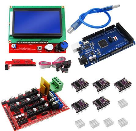 Набор для 3D принтера CNC станка RAMPS 1.4 Arduino Mega 2560 R3 DRV8825 FSGC 12864, фото 2