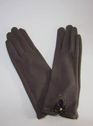 Женские зимние перчатки на плюше (хлопок) Коричневый, фото 2