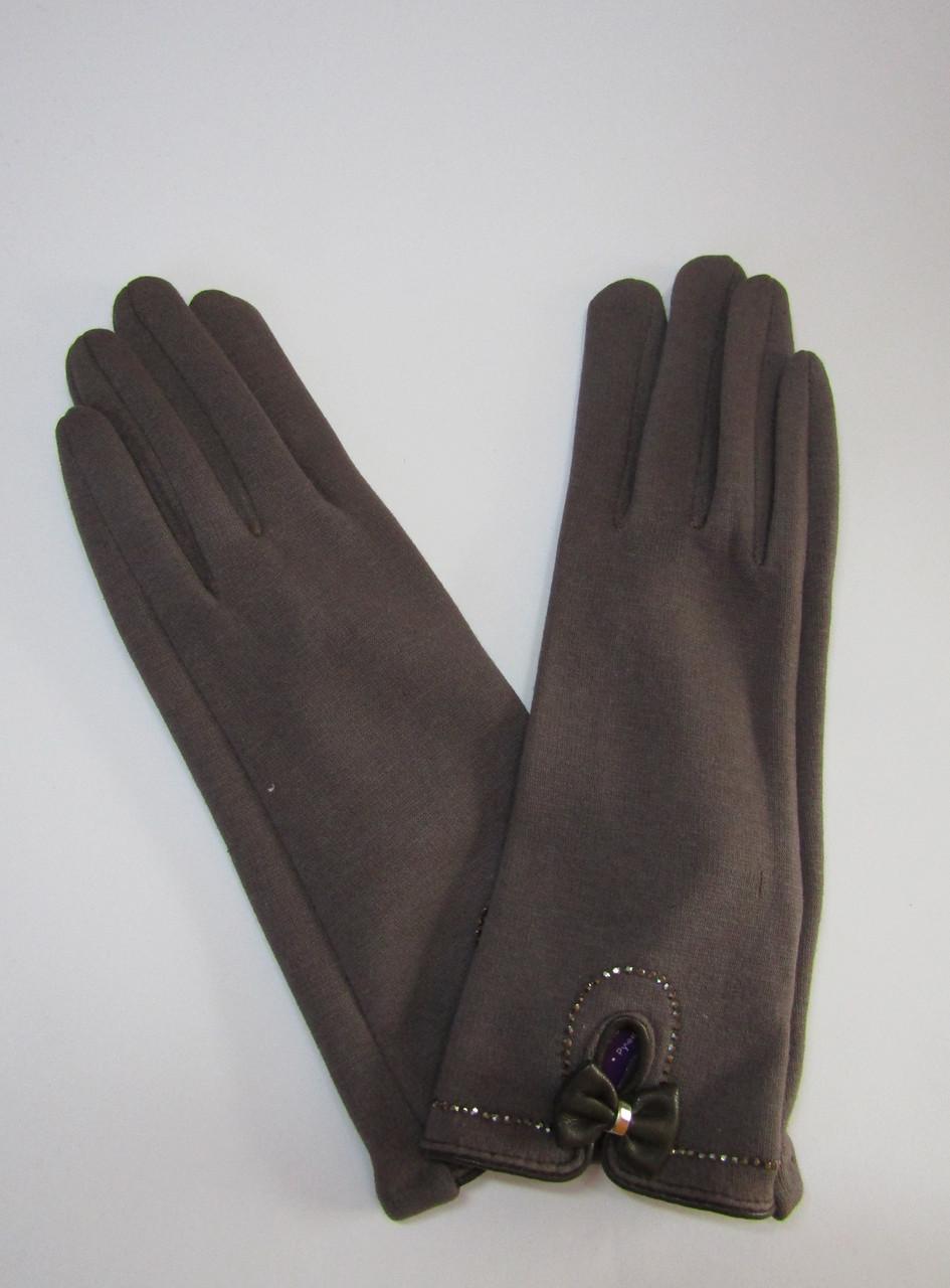Женские зимние перчатки на плюше (хлопок) Коричневый
