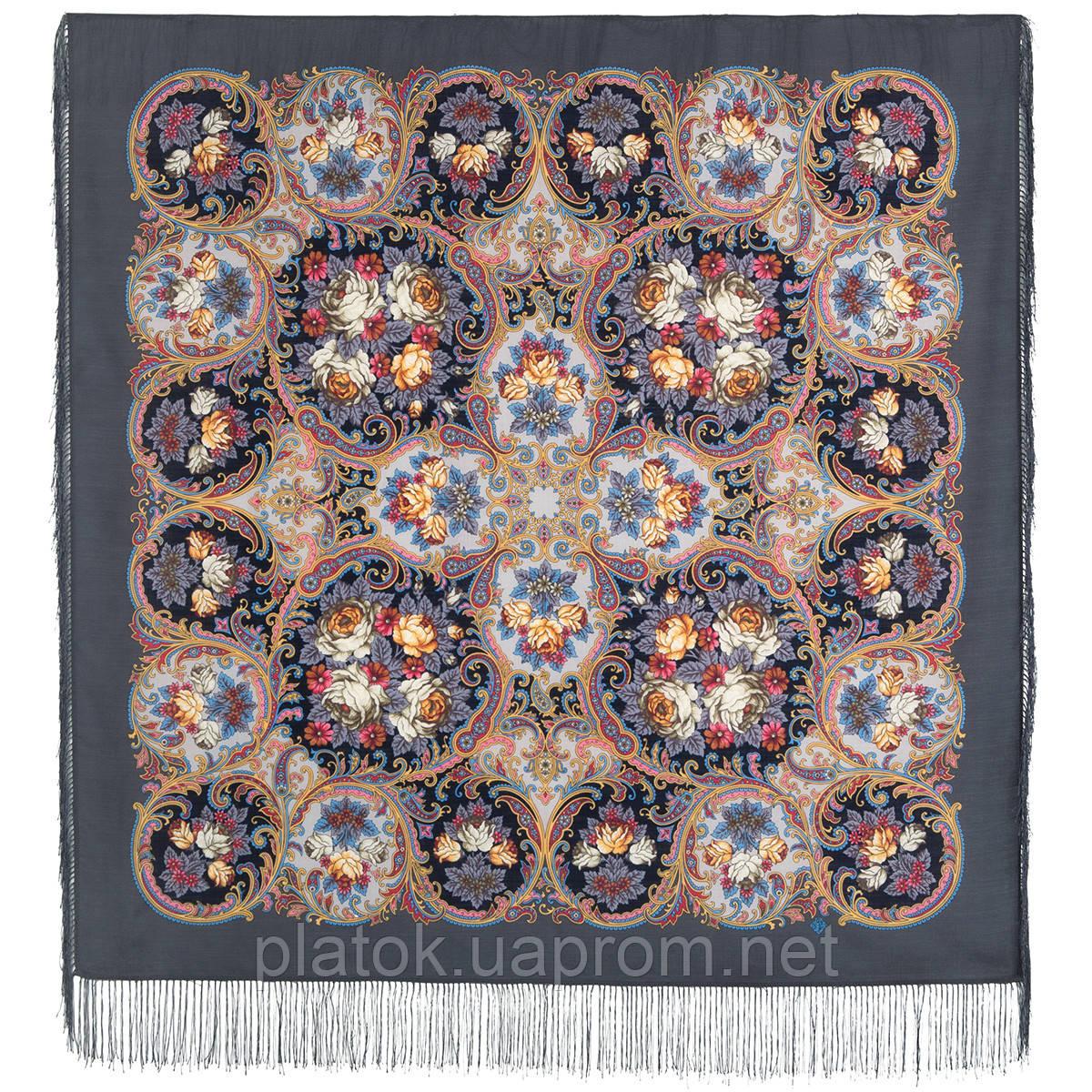 Песнь уходящего лета 1827-1, павлопосадский платок шерстяной с шелковой бахромой