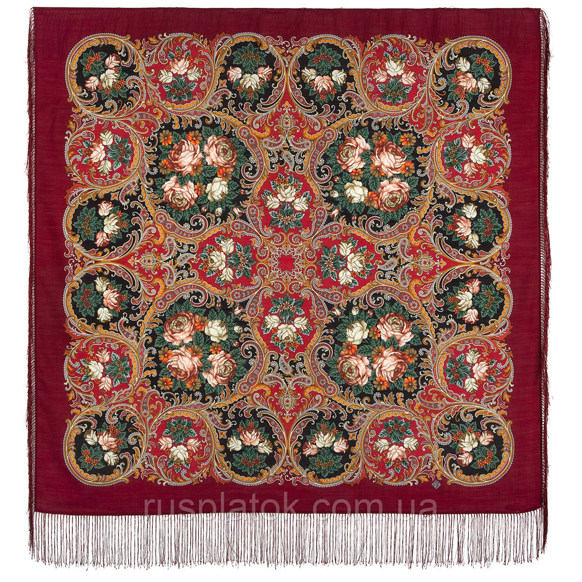 Песнь уходящего лета 1827-6, павлопосадский платок шерстяной с шелковой бахромой