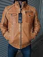 Куртка мужская из экокожи на меху высокого качества AMG