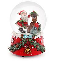 """Снежный шар Санта 14.5см с музыкой """"В лесу родилась ёлочка"""" на заводном механизме"""