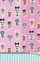 """Пакет для подарка большой вертикальный """"Куклы Лол"""" 25х38 см (мятно-розовый)"""
