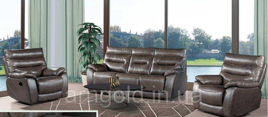 Мягкая мебель Грифин кожа коричневый