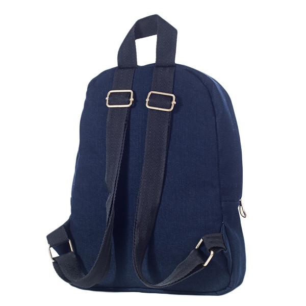 Стильный женский джинсовый рюкзак Mayers, темно-синий однотонный, фото 4
