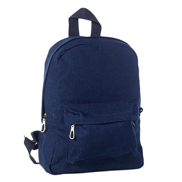 Стильный женский джинсовый рюкзак Mayers, темно-синий однотонный, фото 3