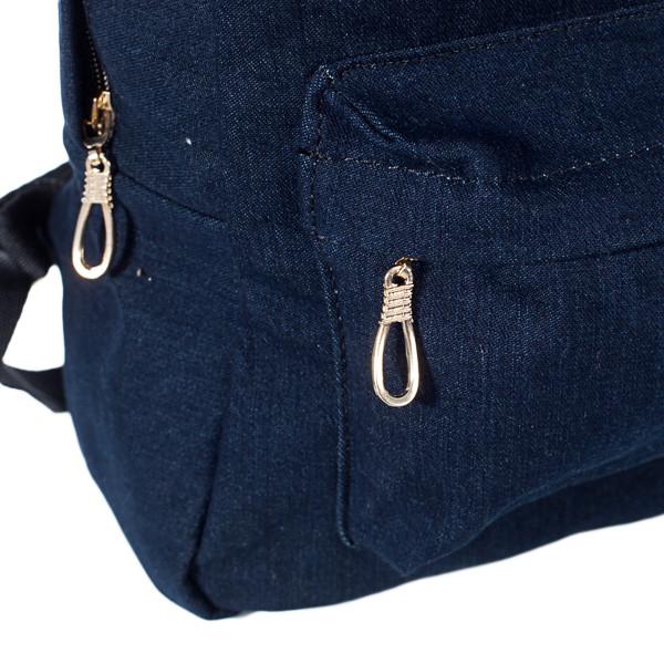 Стильный женский джинсовый рюкзак Mayers, темно-синий однотонный, фото 5