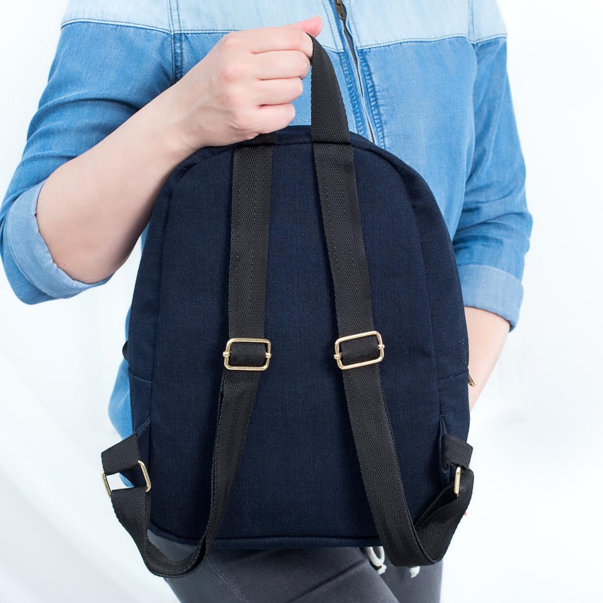Стильный женский джинсовый рюкзак Mayers, темно-синий однотонный, фото 6