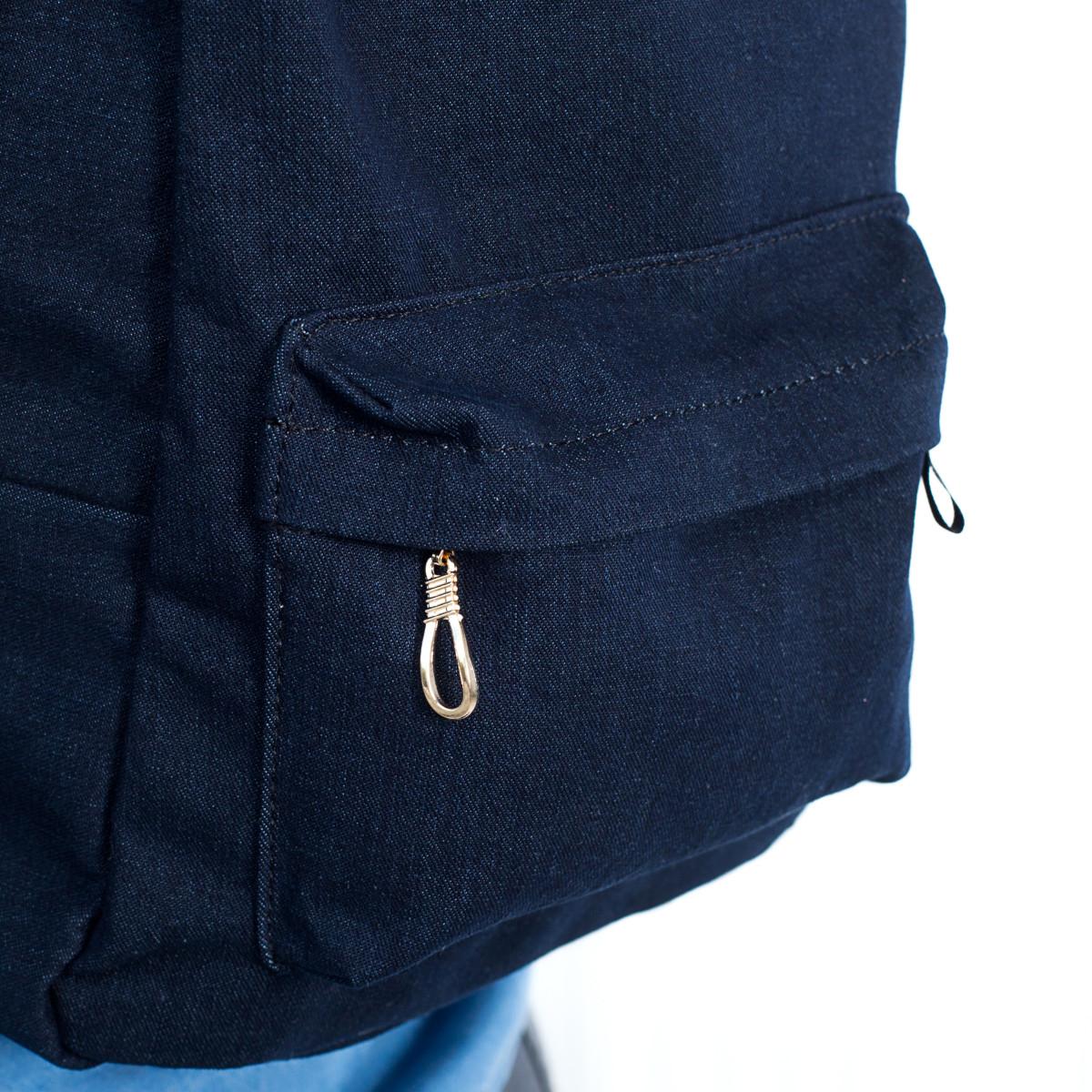 Стильный женский джинсовый рюкзак Mayers, темно-синий однотонный, фото 7