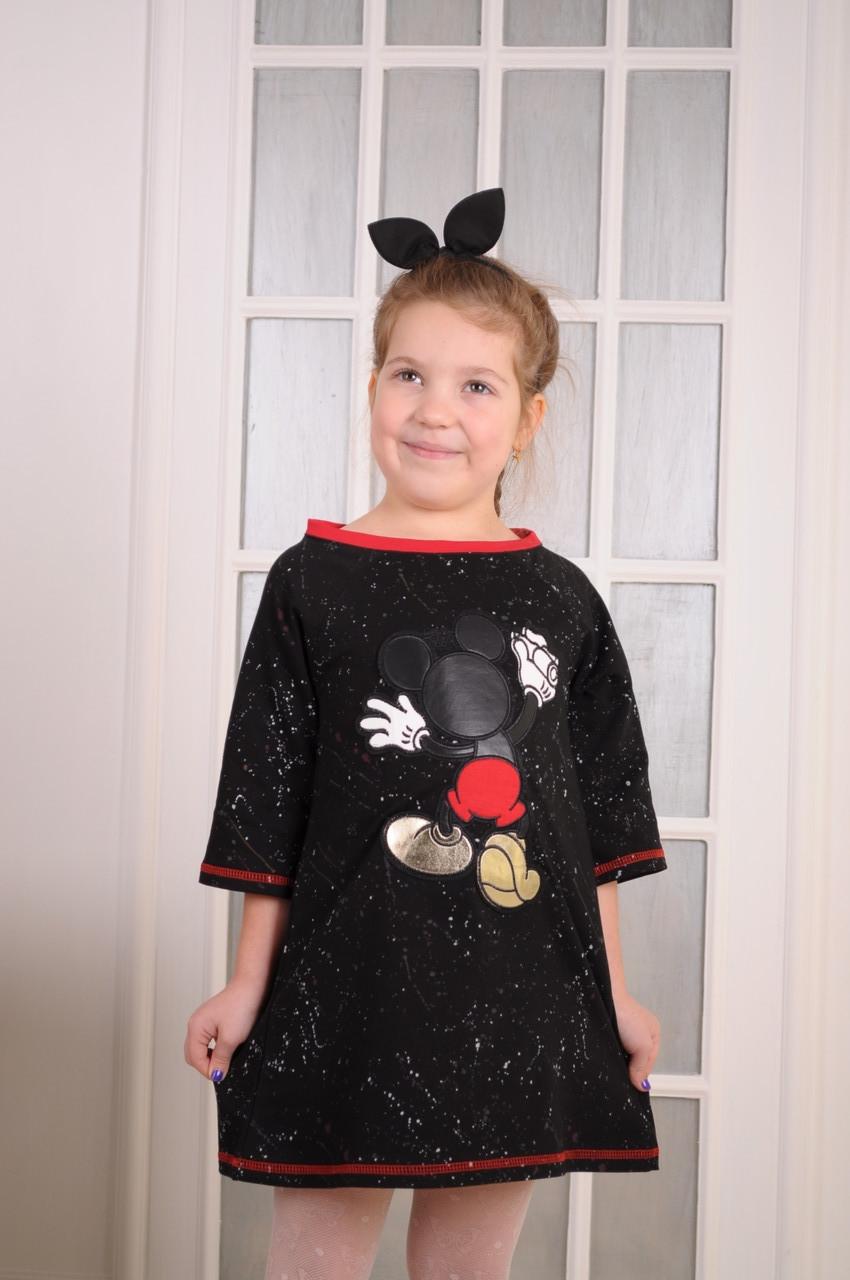 """Платье для девочки с нашивкой """"Mикки""""  от 6 до 10 лет (116;122;128;134;140)"""