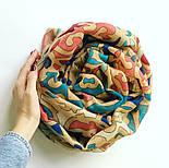 Палантин шерстяной 10677-1, павлопосадский шарф-палантин шерстяной (разреженная шерсть) с осыпкой, фото 6