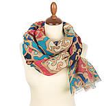 Палантин шерстяной 10677-1, павлопосадский шарф-палантин шерстяной (разреженная шерсть) с осыпкой, фото 3