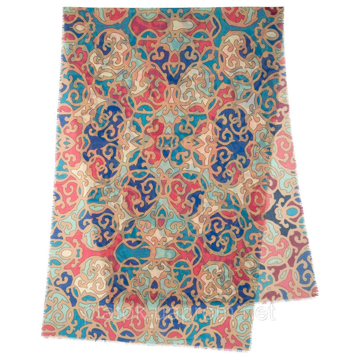 Палантин шерстяной 10677-1, павлопосадский шарф-палантин шерстяной (разреженная шерсть) с осыпкой