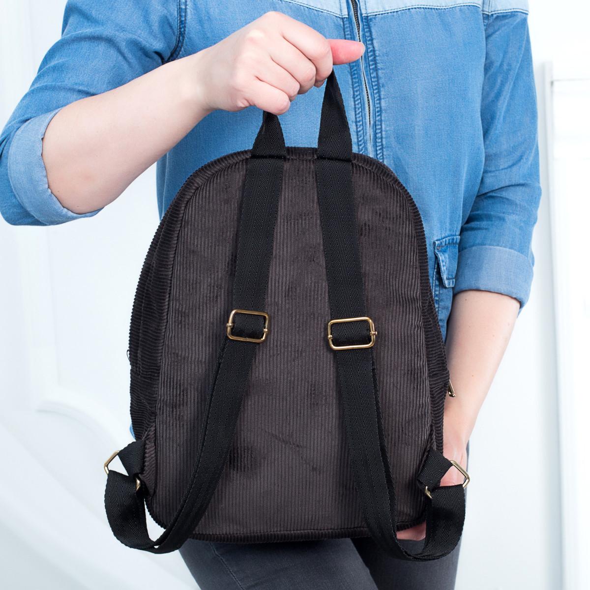 Городской женский вельветовый рюкзак Mayers, шоколадный, фото 6