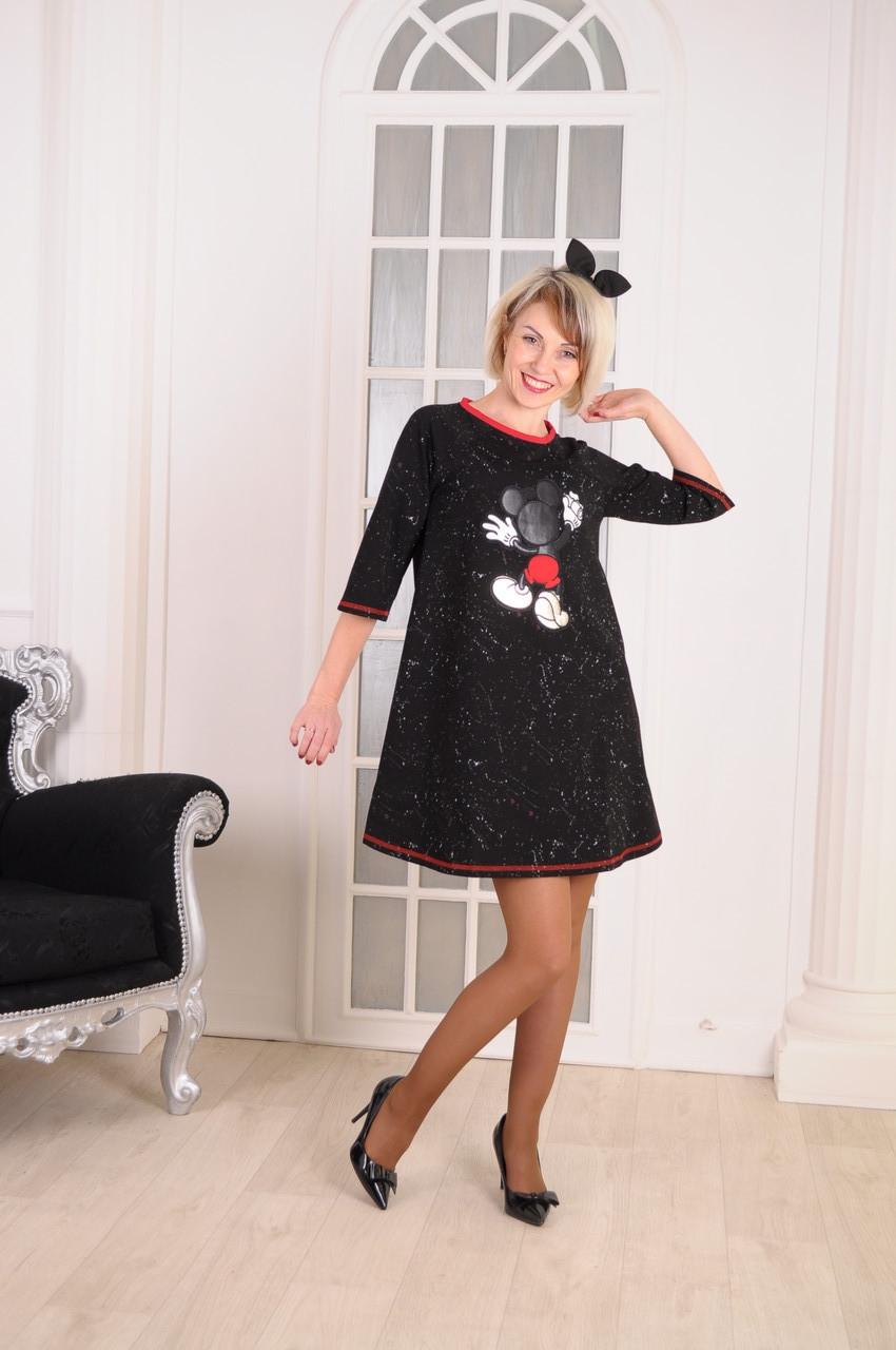 """Женское платье  с нашивкой  """"Микки"""" размер 40-46"""