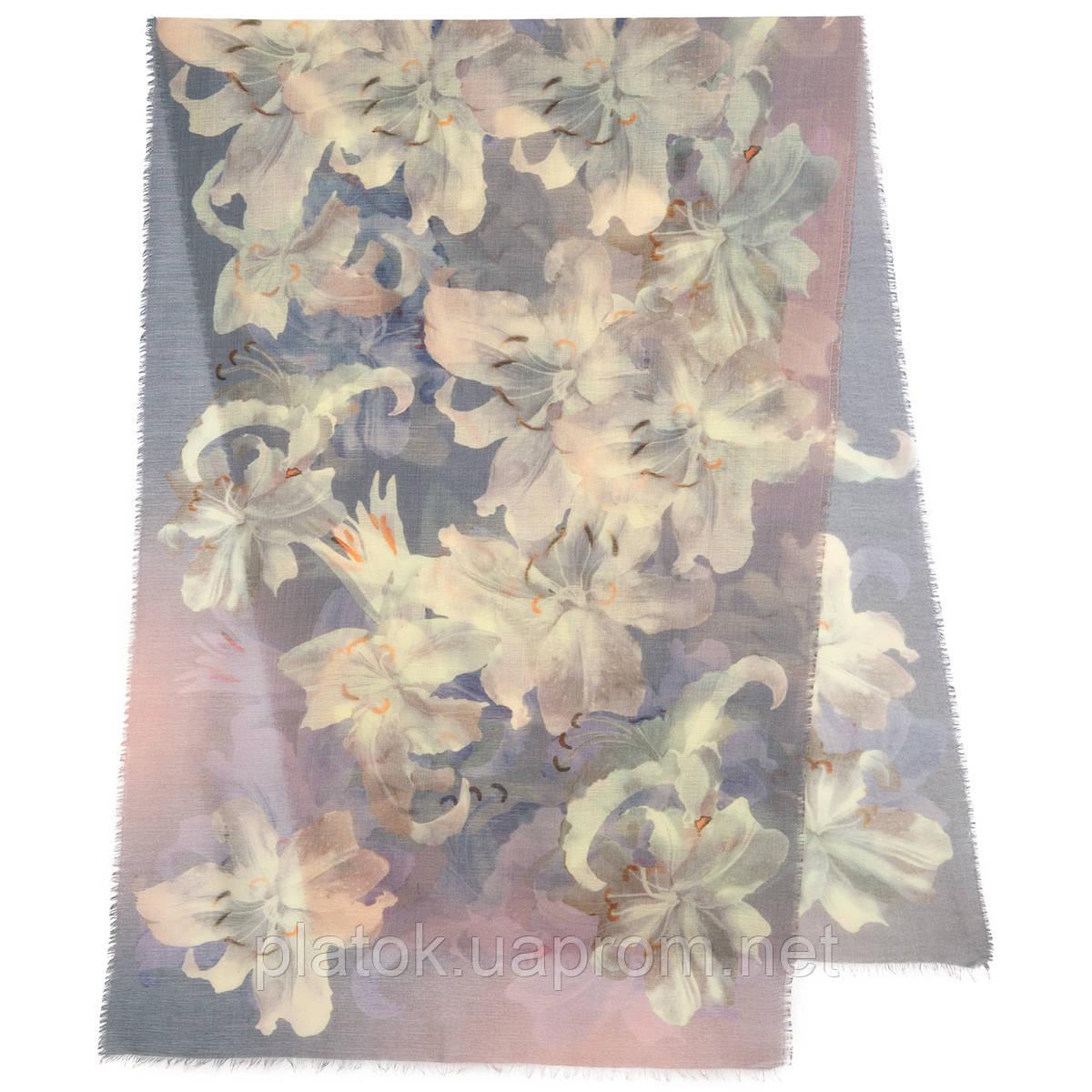 Палантин шерстяной 10536-1, павлопосадский шарф-палантин шерстяной (разреженная шерсть) с осыпкой