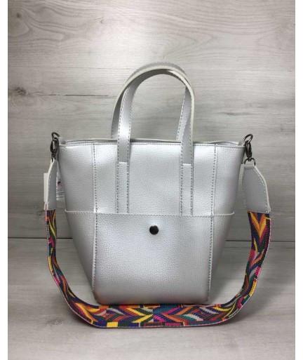 a4e109b7707e Молодежная женская сумка WeLassie Милана с Ярким ремнем серебряного цвета