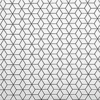 Отрез хлопковой ткани Шестигранники черно-белая, фото 1