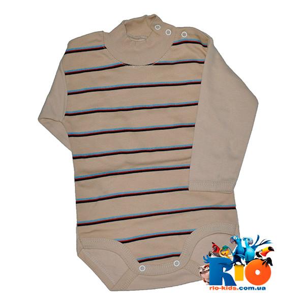 Детский бодик-гольф в полоску, трикотаж на байке , для детей возраст 1-3 года (6 ед. в упаковке)