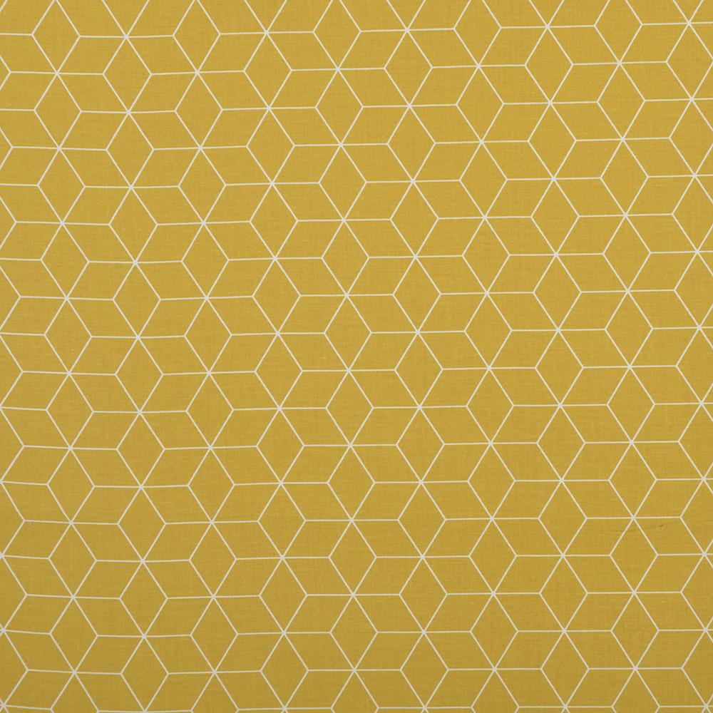 Хлопковая ткань Шестигранники горчица