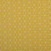 Бавовняна тканина Шестигранники гірчиця, фото 1