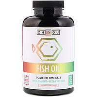 Zhou Nutrition, Fish Oil, Purified Omega 3, 180 Enteric Coated Softgels
