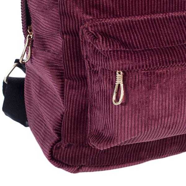 Городской женский вельветовый рюкзак Mayers, бордовый, фото 4