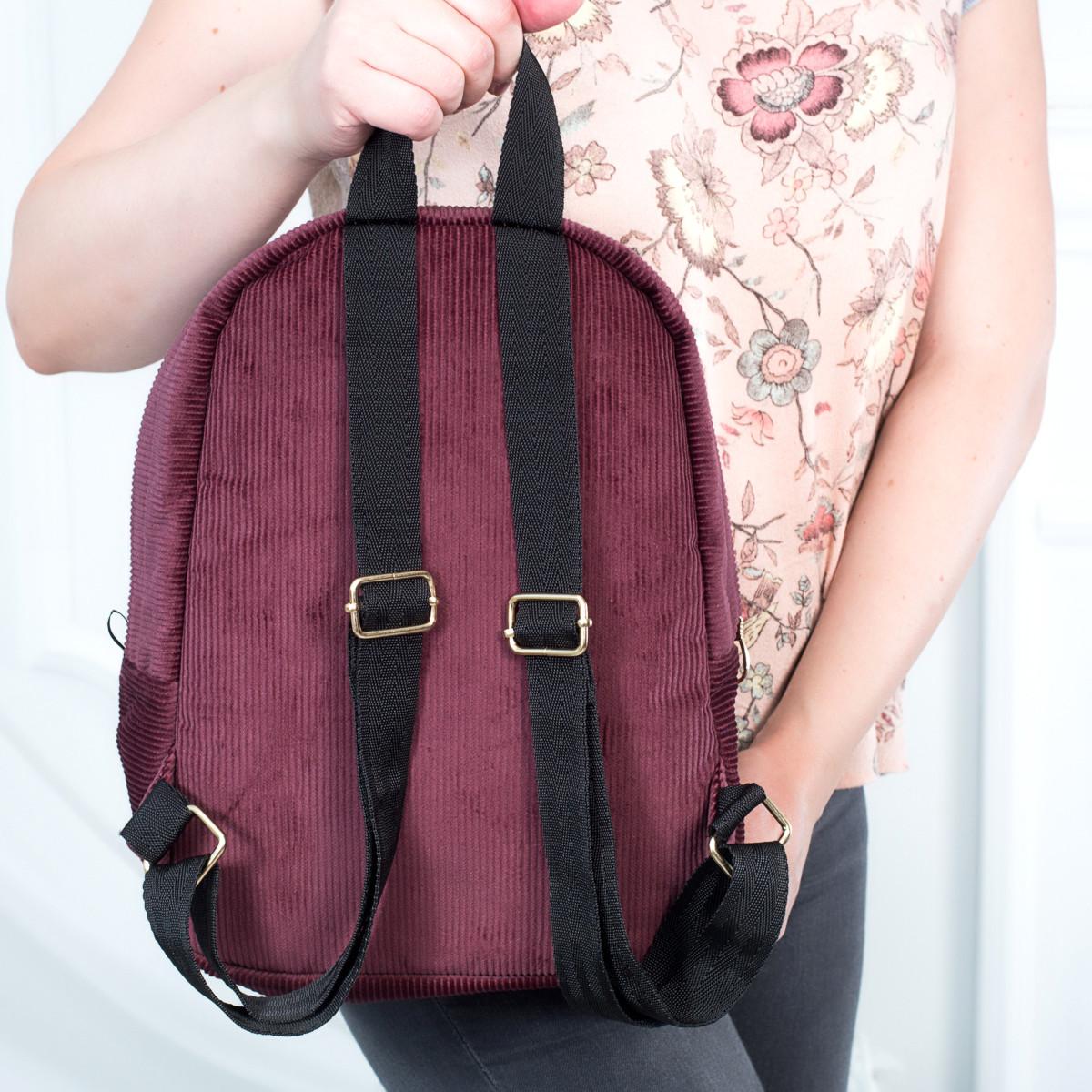 Городской женский вельветовый рюкзак Mayers, бордовый, фото 5