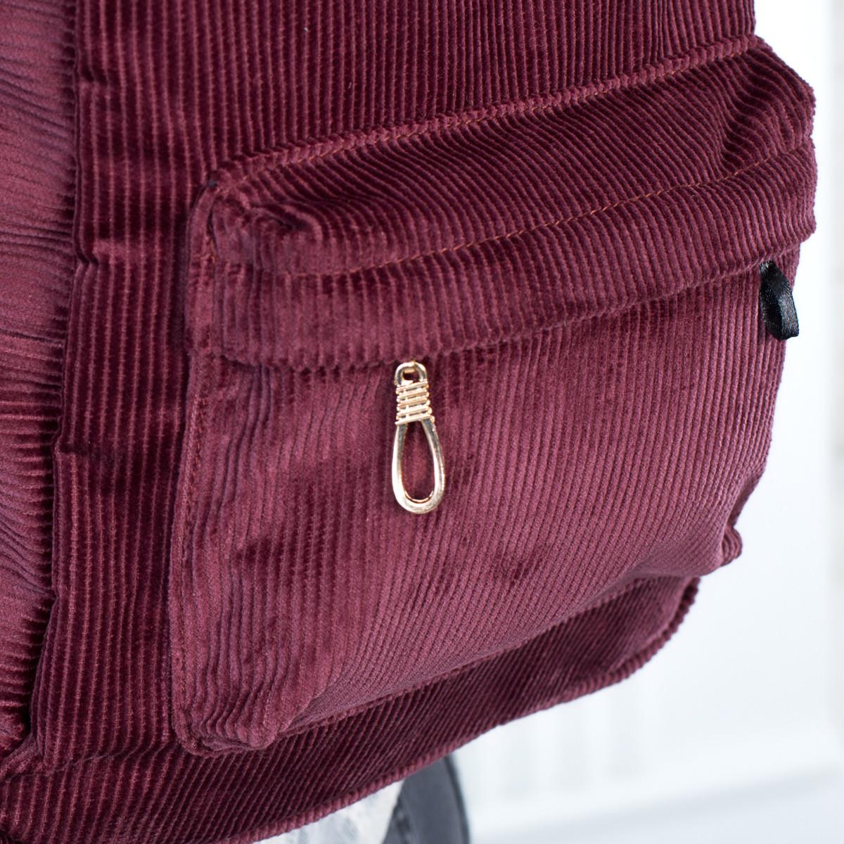 Городской женский вельветовый рюкзак Mayers, бордовый, фото 6