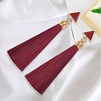 Серьги/сережки женские длинные кисточки из ниток с подвеской «Art deco»(красный)