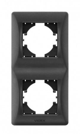 VIDEX BINERA Рамка черный графит 2 поста вертикальная (VF-BNFR2V-BG) (12/96)