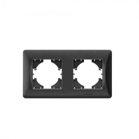 VIDEX BINERA Рамка черный графит 2 поста горизонтальная (VF-BNFR2H-BG) (12/96)