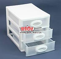 Комод мини пластиковый на 3 ящика 26,5х18,7х20см (цвет - белый) Консенсус