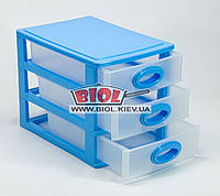 Комод мини пластиковый на 3 ящика 26,5х18,7х20см (цвет - синий) Консенсус