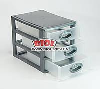 Комод мини пластиковый на 3 ящика 26,5х18,7х20см (цвет - серый) Консенсус