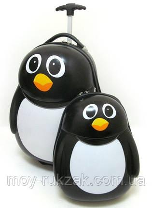"""Набор детский чемодан на колесах + рюкзак """"Пингвины"""" 520352, фото 2"""