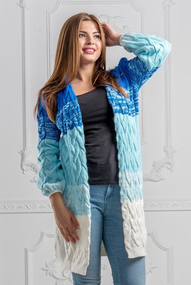 dd36e40cb043 Женский теплый кардиган полосатый в объемные косы