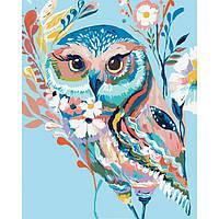 """Картина раскраска по номерам. Животные, птицы """"Сова 2"""" 40*50см"""