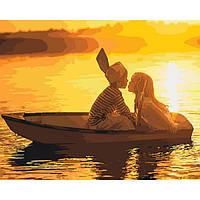 """Картина по номерам """"Первая любовь""""  -  натуральный холст на подрамнике с галерейной натяжкой"""