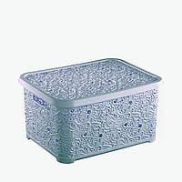 Корзина для хранения с крышкой 10л ажурная 25x34,5x16см (голубая)