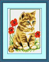 """008Т Набор для рисования камнями (холст) """"Котик среди маков"""" LasKo"""