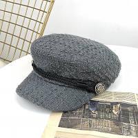 Женский картуз, кепи, фуражка из драпа серый, фото 1