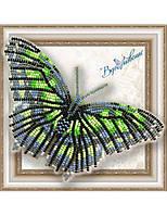 """013-BGP Набор для вышивки бисером на прозрачной основе """"Бабочка Малахитовая"""""""