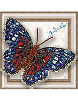"""028-BGP Набор для вышивки бисером на прозрачной основе """"Бабочка Красный Павлин"""""""